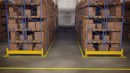3D render of Warehouse interior with racks and crates Stockfoto