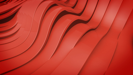elasticity: Abstract 3D Wavy band surface. Red color.