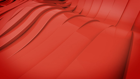 Abstract 3D Wavy band surface. Red color.