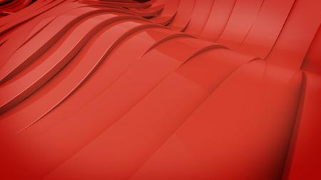 elasticidad: Resumen de superficie ondulada de banda 3D. Color rojo.