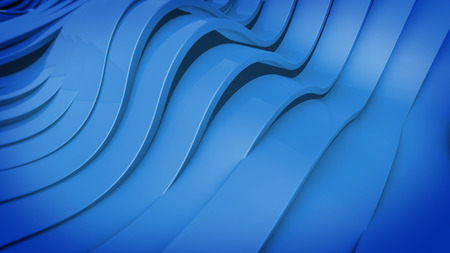 elasticity: Abstract 3D Wavy band surface. Blue color. Stock Photo