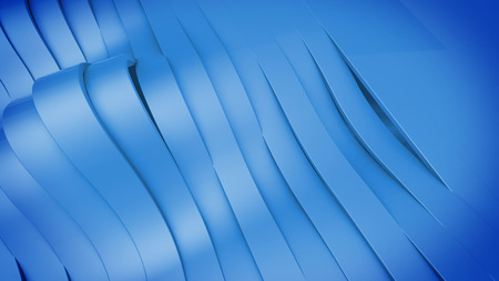 strip structure: Abstract 3D Wavy band surface. Blue color. Stock Photo