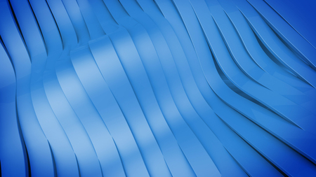 Abstract 3D Wavy band surface. Blue color. Stock Photo