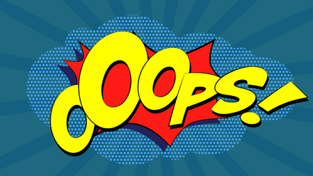 ooops: Ooops! Comic Book Bubble Text on a dots cloud background in Pop-Art Retro Style