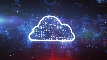 Cloud System Technology Concept on a cyber background. Stock Photo