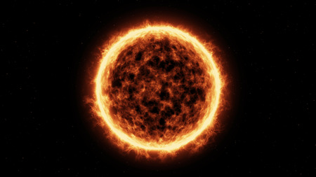 power giant: 3D render of Sun Surface And Solar Flares Stock Photo