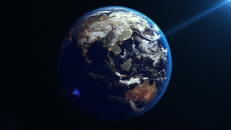 Earth Rotation in Space. Asia. Nasa maps. Banque d'images