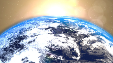 spectacular: Planet Earth with a spectacular sunrise background.