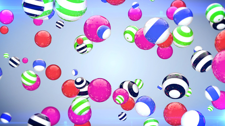 amaranthine: Abstract flying balls of different colours with a blue background