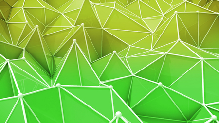 geometric colorful background with yellow and green triangles. spheres and curves of different shades