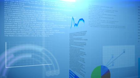 graficas de pastel: informe financiero con gráficos, gráficos circulares y curvas sobre un fondo azul. Abstracción.