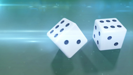 double the chances: Rolling two white dices with a green background closeup