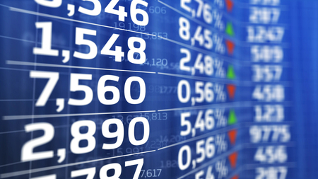 stock ticker board: Blue display of Stock market quotes. Abstract background.