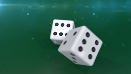 double the chances: Two gambling dices isolated on white background closeup