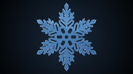 3d animation: christmas snowflake with a black background. 3d animation. isolated Stock Photo