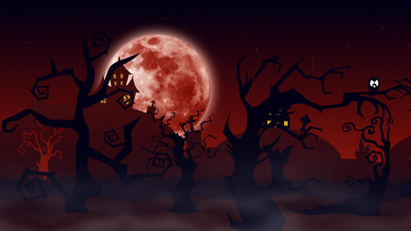 spooky forest: Halloween background. Spooky forest with dead trees and flying bats and the full moon behind them