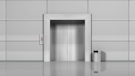 lift gate: 3d rendering of Realistic chrome metal office building elevator Stock Photo