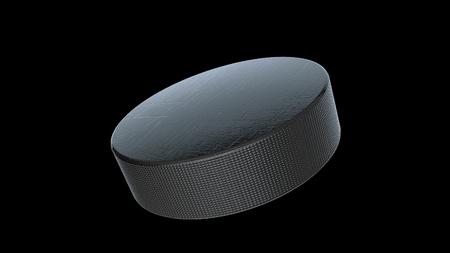 3D rendering of Hockey Puck on black background.