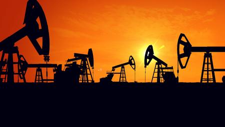 jacks: 3D rendering of Silhouette pump jacks at sunset. Oil industry.