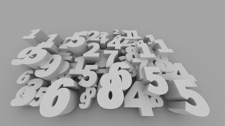 numbers abstract: 3D rendering of Abstract 3D numbers