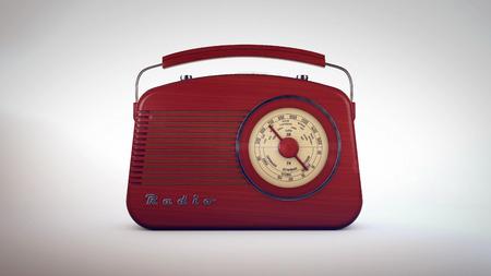 old radio: 3d rendering of Retro old radio receiver on white background.