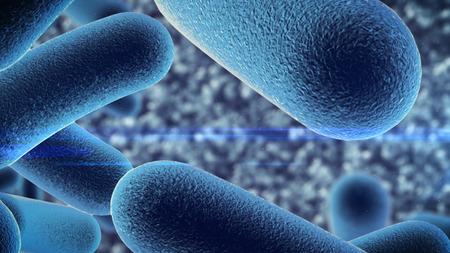 3d utylizacyjnej z bakterii pod mikroskopem