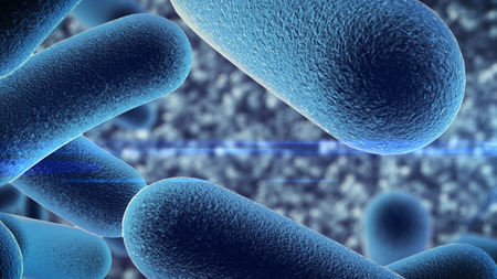 3d rendering of a bacteria under microscope