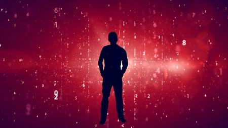 appeared: Silhouette of businessman appeared on the science background