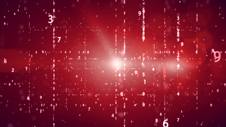 listing: Random numbers code screen listing table cypher on red bacjground. Stock Photo