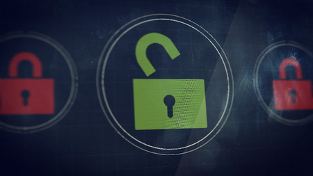 unlocked: Unlocked icon on a HUD panel. Illustration concept.