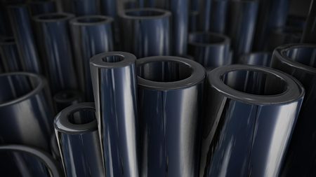 Heavy metallurgical industrial products. Many shiny steel pipes. 3d rendering.