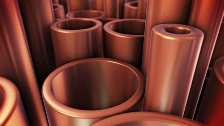 3D rendering of Stack of copper tubes. Industry Concept. Stock Photo