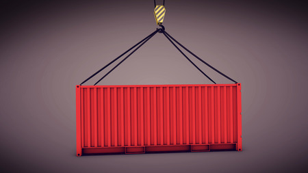 3d rendering of Sea container lifted by a harbor crane Stock Photo