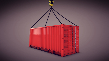 3d rendering of the red cargo container with a hook
