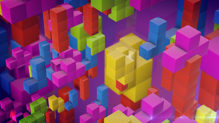 Game Brick Tetris on a purple background. 3d rendering.