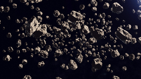 3d rendering of a lot of asteroids in a far off orbit on a black background.