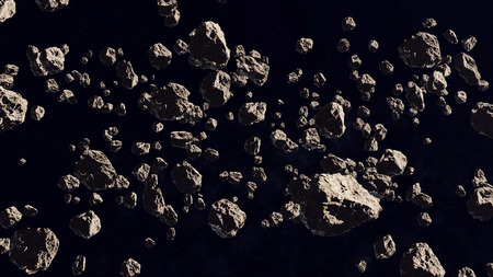 3d rendering of Asteroid field on a black backdrop.