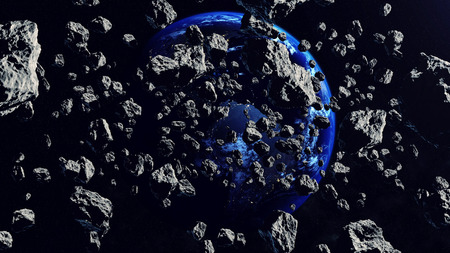 meteorites: 3d rendering of Asteroids Closing to the Earth Planet. Apocalypse Concept. Elements of this illustration furnished by NASA.