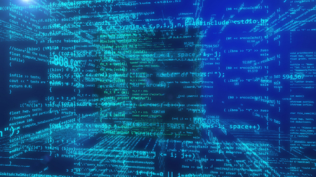 Abstract programming data code on a blue background. 3d rendering. Banque d'images