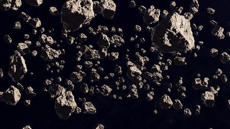 En el interior del cinturón de asteroides en el espacio profundo. Representación 3D. Foto de archivo