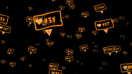 Abstract social media concept on a black background. Numbers of likes, friends and followers. Stock Photo