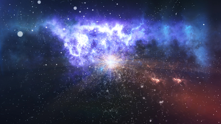 Abstract star on a beautiful nebula in a background. 3d rendering.