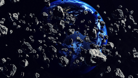 3d rendering of Thousands of asteroids Closing to the Earth Planet.