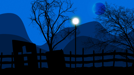 3d illustration of Halloween concept graveyard, lampstand and moon on a blue sky background