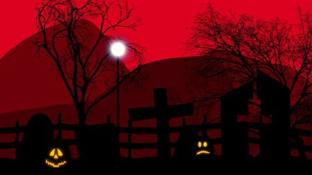 grave stone: 3d illustration of Halloween concept graveyard with pumpkins on red sky and rocks.