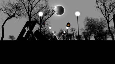 3d illustration of Pumpkins, the Moon, lampstands and trees. Black and white.