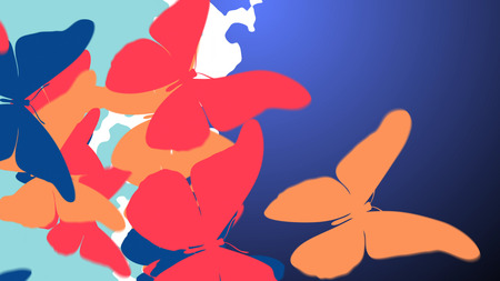 butterfly background: 3d illustration of Colorful Butterfly Swarm are flying from left to right side