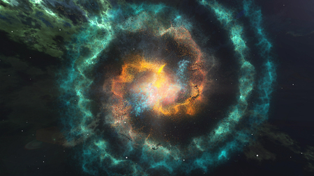 3d illustration of Glowing Spiral of nebula Galaxy in the space. Stock Photo