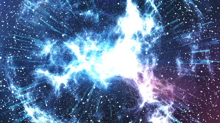 Abstracte galaxy Big Bang creatie. Abstracte planeet explosie op een mooie achtergrond van de nevel. 3D-rendering.