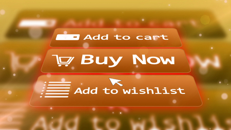 Electronic commerce concept.  3d illustration. Internet shopping buttons. Buy now. Add to cart. Add to wishlist.